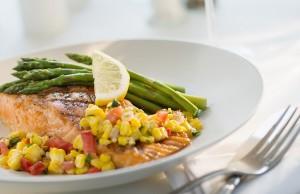 salmon dinner planter with veggies